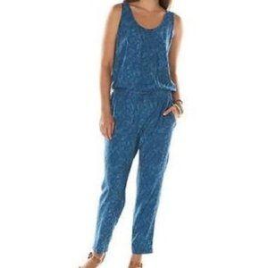Chaps Denim Chambray Palm Print Jumpsuit Sz L